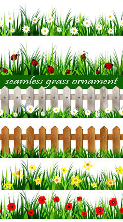 tulips in green grass: Big Green Grass seamless set isolated clip art on white with wooden fence and daffodil Illustration