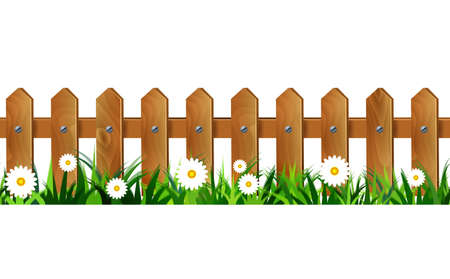 Green Grass and  wooden fence seamless isolated clip art on white Stock Illustratie