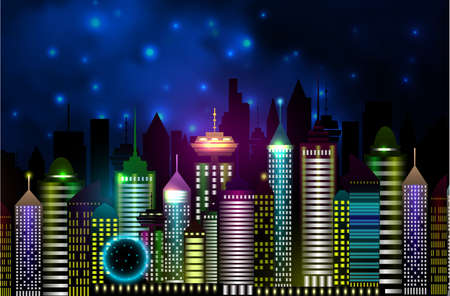 Vancouver Canada skyline silhouette illustration in night