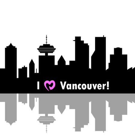 i love canada: I love Vancouver  Canada skyline. Detailed vector silhouette on white