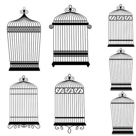 Silhouette of a decorative bird cages set isolated on white
