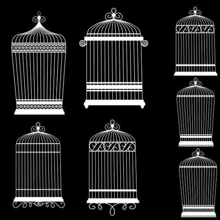 Silhouette of a decorative bird cages set isolated on black Illusztráció