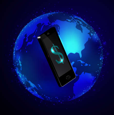 Globe and phone receivers and messages Global communication concept. Иллюстрация