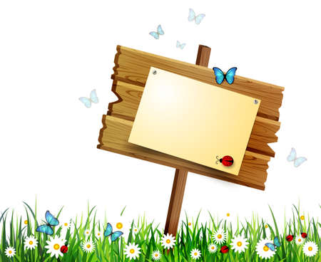 advertisement wooden board on a loan with flowers on white Stock Illustratie