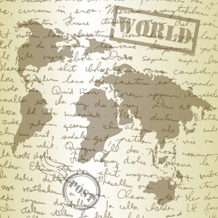 stamp seal: background with sketching paper and map on old background Illustration