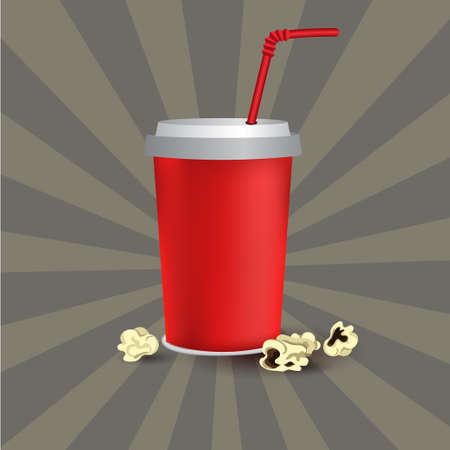 Red paper cup template for soda or cold beverage with drinking straw, isolated on white background with popcorn 向量圖像