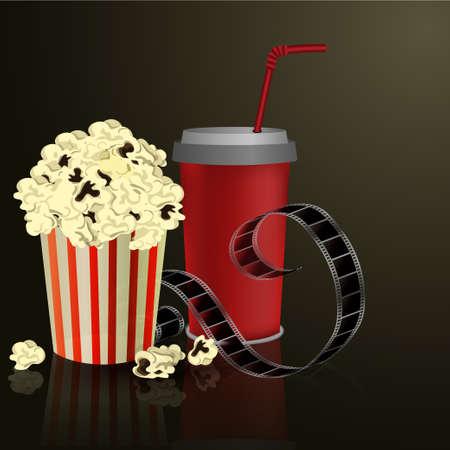 flick: Popcorn and movie film  on dark background