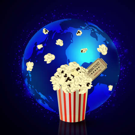 Popcorn and movie ticket on dark space background
