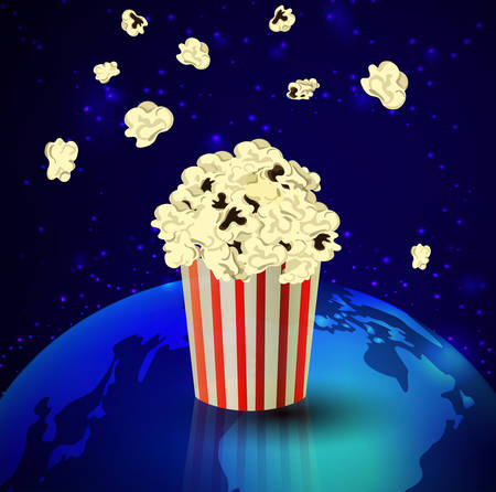 flick: Popcorn and Earth  on dark space background