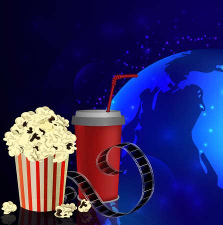 flick: Popcorn and movie film on dark space background