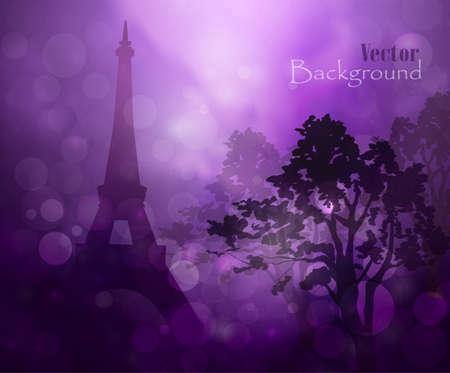 silhouette of Eiffel tower in rain bokeh background