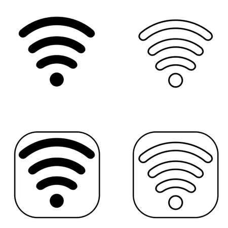 Wireless Icon set in black on white background isolated