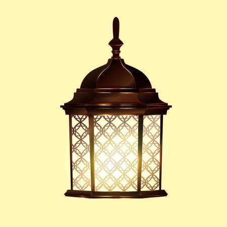 lamp post: Retro vintage lamp post with electricity lantern isolated vector illustration