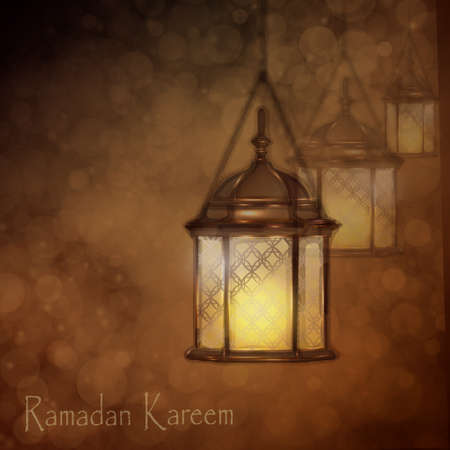 intricate: Intricate Arabic lamps with lights for Ramadan Kareem and other events on a bokeh background