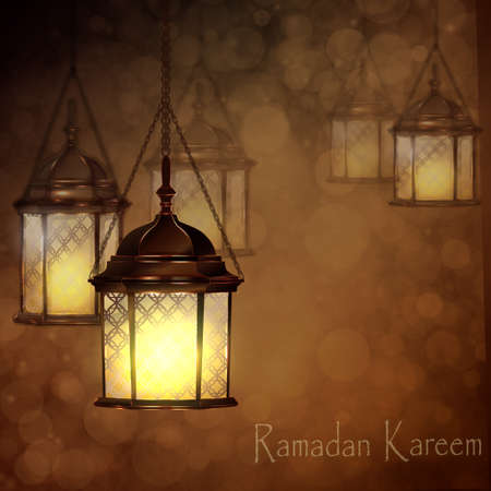 gulf: Intricate Arabic lamps with lights for Ramadan Kareem and other events on a bokeh background