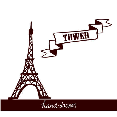 Eiffel Tower sketch on a white background