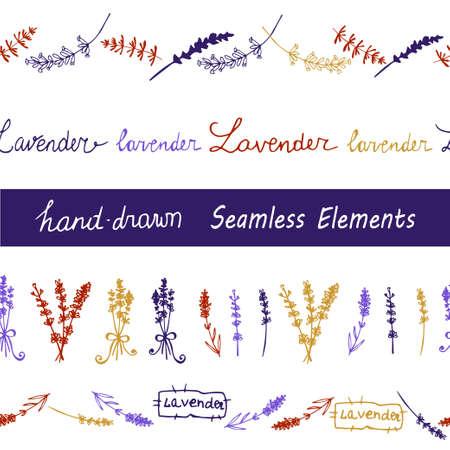 grass weave: Lavender Seamless elements set  on the black background. Hand-drawn original background