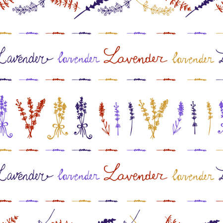 motley: Lavender. Seamless pattern  on the white background. Hand-drawn original background