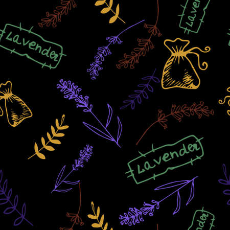 motley: Lavender. Seamless pattern  on the black background. Hand-drawn original background Illustration
