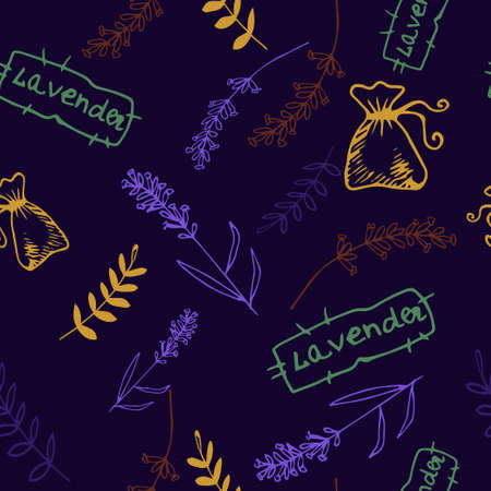 grass weave: Lavender. Seamless pattern  on the blue background. Hand-drawn original background