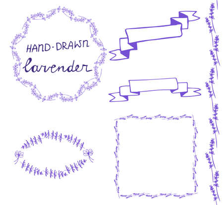 floral ornaments: lavander frame hand drawn set with ribbons