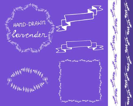 lavander: lavander frame hand drawn set with ribbons