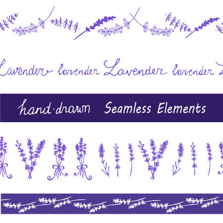 grass weave: Lavender Seamless elements set for your design