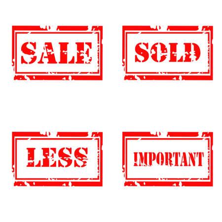 For sale grunge  stamp set on white background Illustration