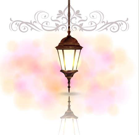 Ingewikkelde Arabische lamp met licht voor Ramadan Kareem en andere evenementen op een bokehachtergrond Stock Illustratie