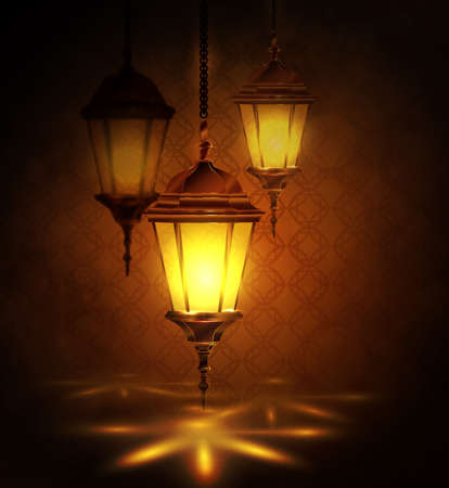 Ingewikkelde Arabische lampen met verlichting voor Ramadan Kareem en andere evenementen op een bokehachtergrond