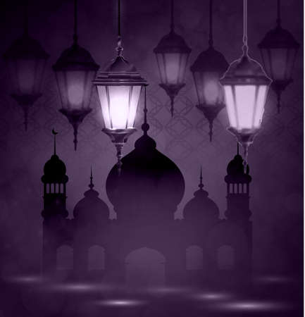 intricate: Intricate Arabic lamps with lights for Ramadan Kareem and other events on a bokeh  Mosque silhouette  background