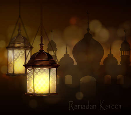 gulf: Intricate Arabic lamps with lights for Ramadan Kareem and other events on a bokeh  Mosque silhouette  background