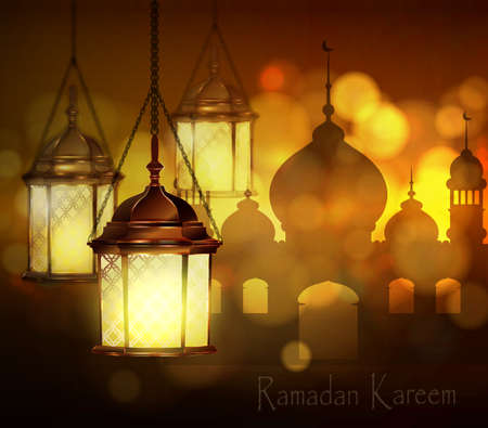 Intricate Arabic lamps with lights for Ramadan Kareem and other events on a bokeh Mosque silhouette background