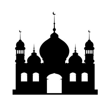 Vector illustration Silhouette of mosque on white