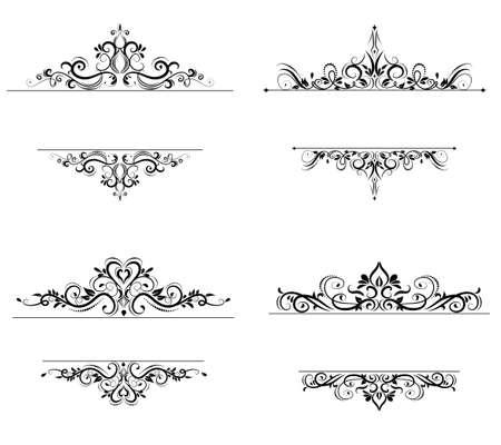 Vintage vector swirl frame set on white background Illusztráció