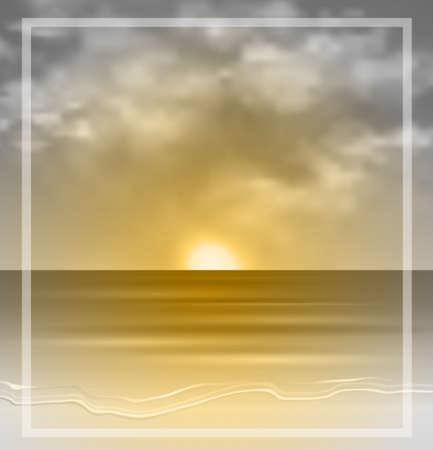 Sea sunset monochrome in yellow tints summer