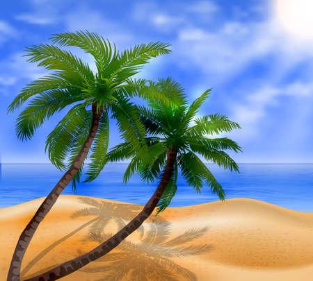 Vector tropical beach with sea sand and palms Иллюстрация
