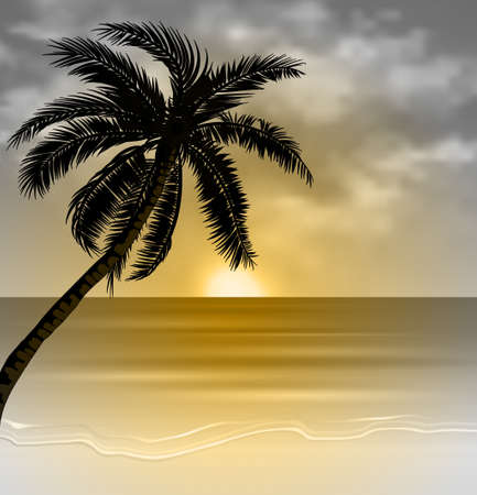 Vector tropical beach with sea sand and palm silhouette monochrome
