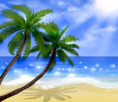 Vector tropical beach with sea sand and palms Иллюстрация