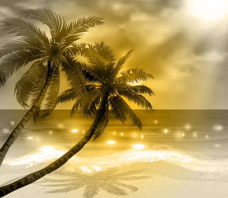 Vector tropical beach with sea sand and palms monochrome Иллюстрация