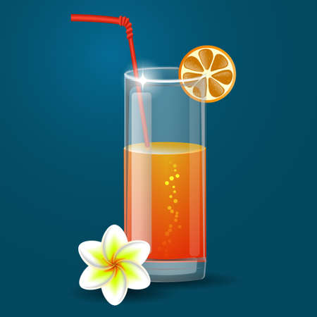 Fresh orange juice with plumeria flowers and straw  on a blue background