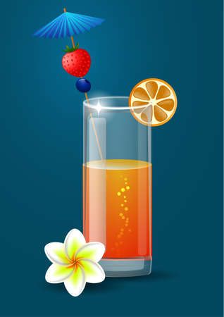 Fresh orange juice with plumeria flowers and umbrella  on a blue background Vectores