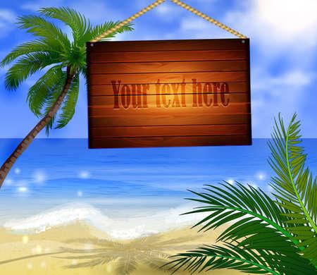 Tropical Beach Bar houten bord Signpost op het strand achtergrond Stock Illustratie