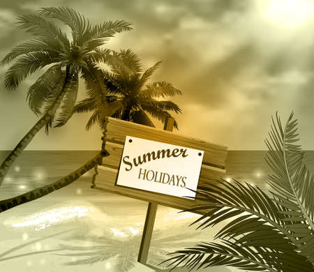 idealistic: wooden signboard on idealistic tropical beach in monochrome colors
