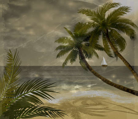 Vector tropical beach with sea sand and palms grange background Иллюстрация