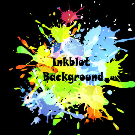 inkblot: Abstract inkblot colorfull background on black with spluches
