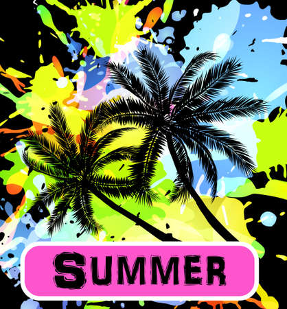 Summer background with palm trees silhouette on inkblots black background