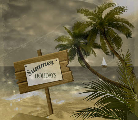 grange: Vector tropical beach with sea sand and palms grange background Illustration
