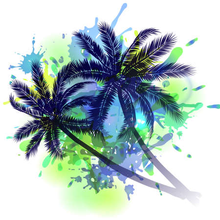 Summer background with palm trees silhouette on inkblots Illustration