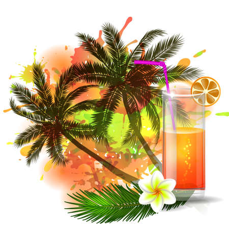 Summer background with palm trees and cocktail glass on abstract inkblot  splash with straw and flower